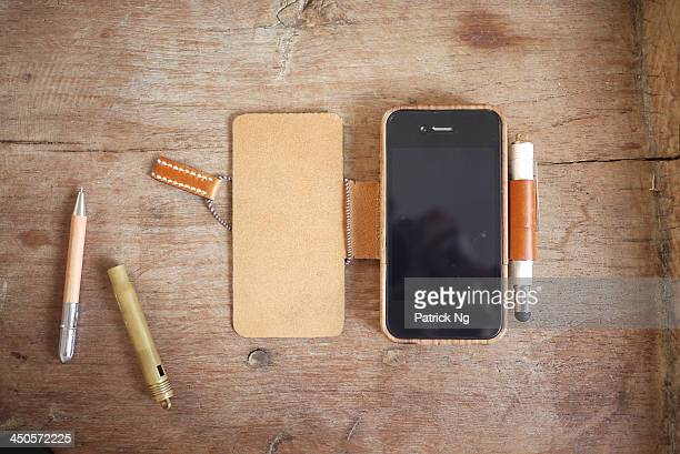 leather wood iPhone case with brass stylus