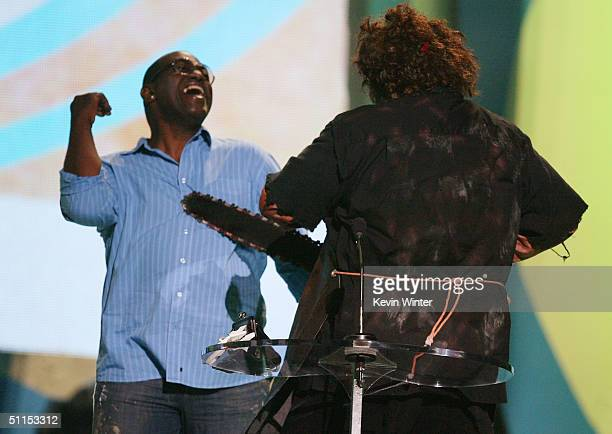 Leatherface attacks 'American Idol's' Randy Jackson with a chainsaw on stage at The 2004 Teen Choice Awards held on August 8 2004 at Universal...