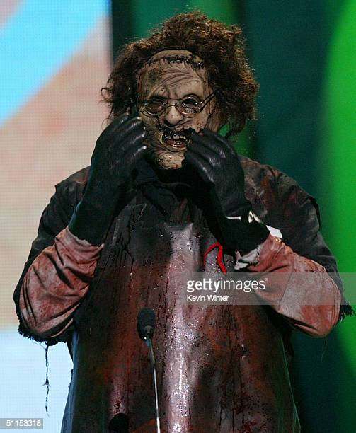Leatherface reacts on stage at The 2004 Teen Choice Awards held on August 8 2004 at Universal Amphitheater in Universal City California