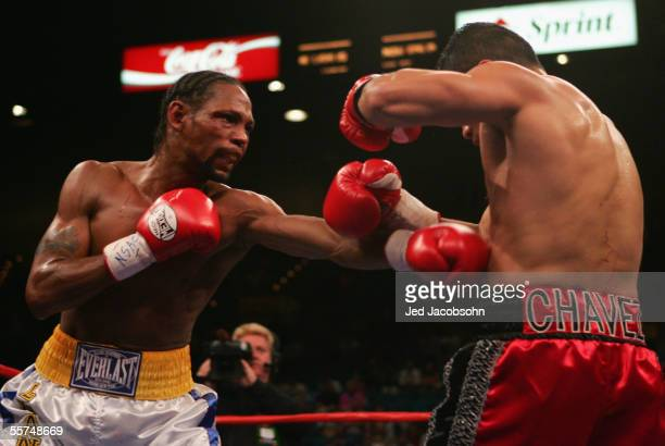 Leavander Johnson throws a left at Jesus Chavez during the IBF Lightweight World Title Bout at the MGM Grand Garden Arena on September 17, 2005 in...