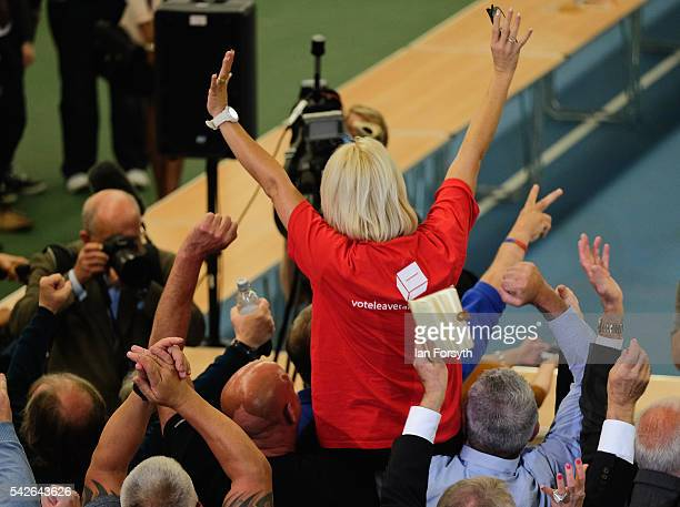 Leave campaigners celebrate as they win the vote in Sunderland during the North East region European Union referendum count on June 24 2016 in...