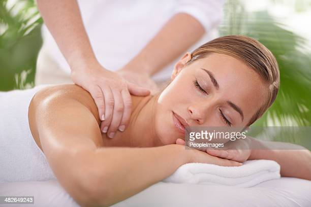 leave your worries and stress behind - massage stock photos and pictures