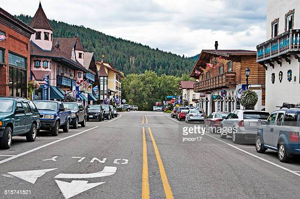 leavenworth front street bavarian style village - leavenworth washington stock photos and pictures