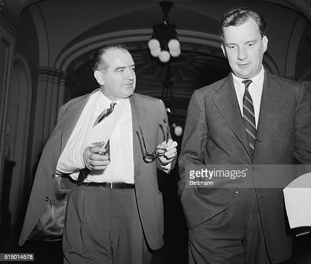 Leaves before showdown vote. Washington, D.C.: Sen. Joseph R. McCarthy , and his attorney, Edward B. Williams , walk from the Senate chamber today...