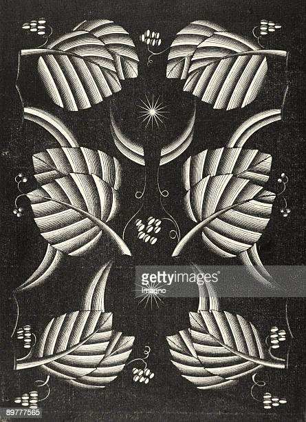 Leaves Draft of a leather bag decoration by Dagobert Peche Woodcut Around 1920