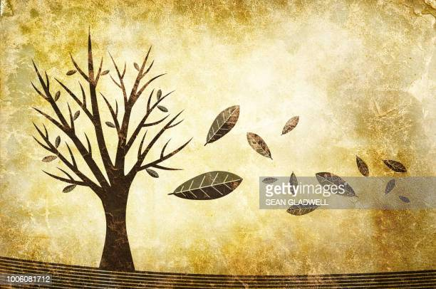Leaves falling from tree in autumn illustration