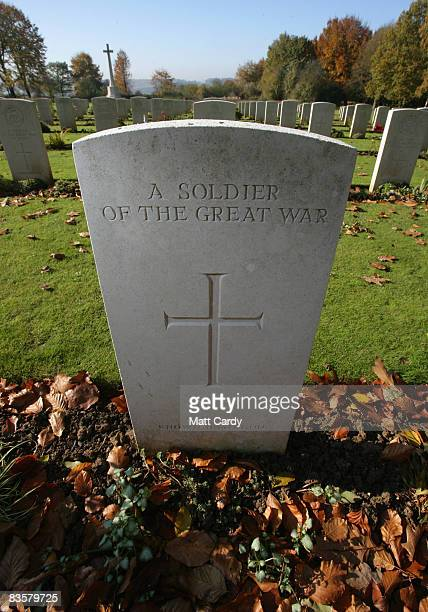 Leaves gather in front of a grave of an unknown soldier in the grounds of the Thiepval Memorial on November 4 2008 in Arras France The Commonwealth...