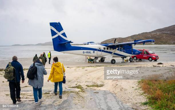 leaving barra by plane - barra scotland stock pictures, royalty-free photos & images