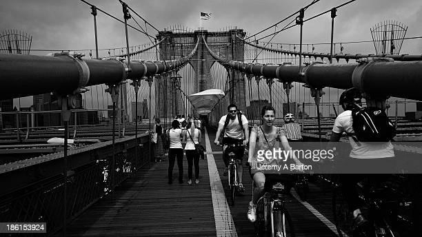 Leaving Brooklyn via the Brooklyn Bridge pedestrian walk, New York City, New York