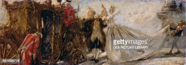 Leaving church by Gaetano Previati , oil on canvas, 33x91 cm.