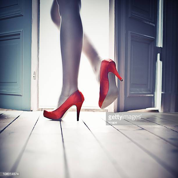 leaving through the door - high heels stock pictures, royalty-free photos & images