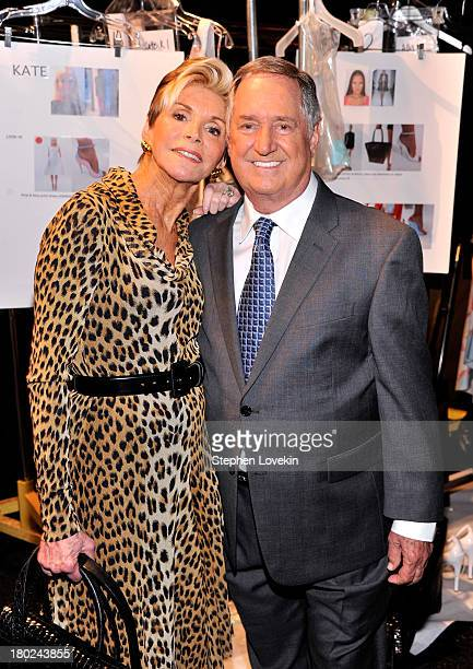 Leba Strassberg and Neil Sedaka pose backstage at the Dennis Basso fashion show during MercedesBenz Fashion Week Spring 2014 at The Stage at Lincoln...