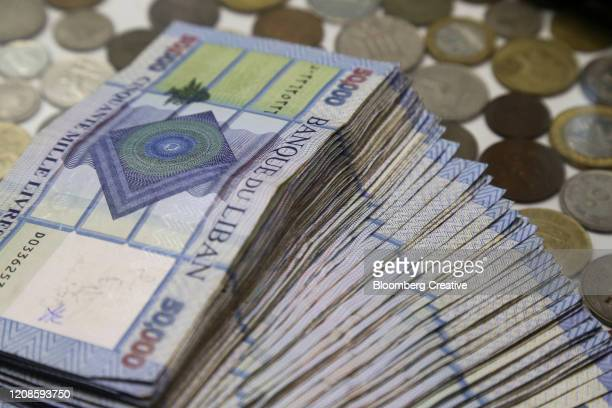 lebanese 50,000 banknotes - lebanon stock pictures, royalty-free photos & images