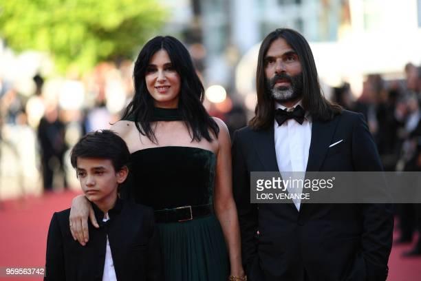 Lebanese actor Lebanese actor Zain alRafeea Lebanese director and actress Nadine Labaki and Lebanese producer Khaled Mouzanar arrives on May 17 2018...