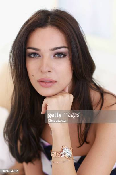 Lebanese actress Nadine Njeim poses in the Cartier Villa at the Cartier International Dubai Polo Challenge at the Desert Palm Hotel on February 18...