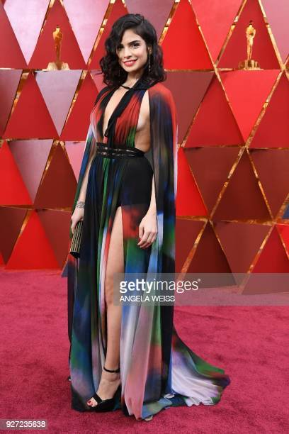 Lebanese actress Rita Hayek arrives for the 90th Annual Academy Awards on March 4 in Hollywood California / AFP PHOTO / ANGELA WEISS