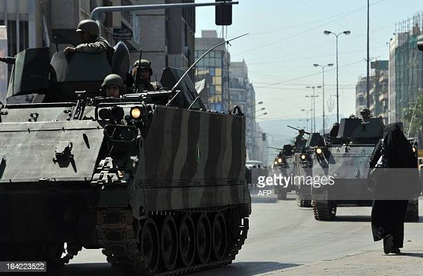 Lebanese armed forces are deployed in the northern Lebanese city of Tripoli on March 21 2013 as high security measures were taken after clashes broke...