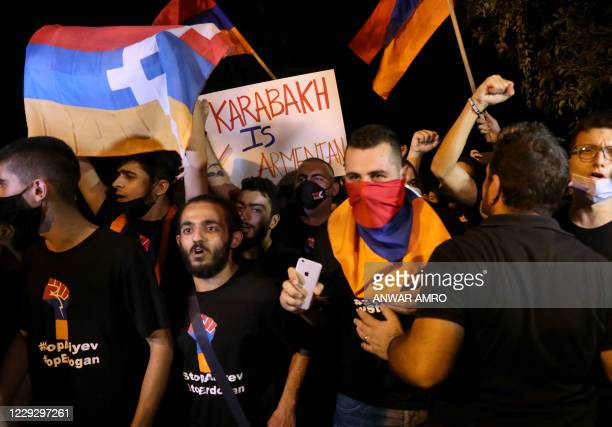 """Lebanese Armenians demonstrate with """"Artsakh"""" flags outside the Turkish embassy in Rabieh, on the outskirts of Beirut, on October 26 to protest..."""