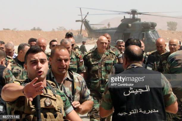 Lebanese army chief General Joseph Aoun arrives at an operational command post in the eastern town of Ras Baalbek on August 23 as troops are...