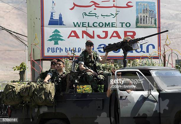Lebanese army commandos enter 25 April 2005 the town of Anjar in the Bekaa Valley the former headquarters of the Syrian intelligence apparatus in...