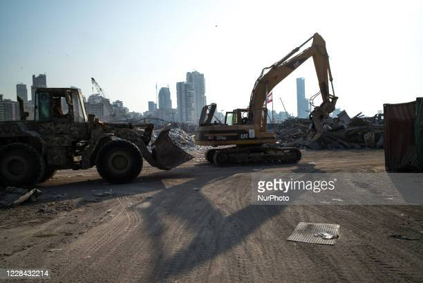 Lebanese army excavators are used to remove the rubble of the port area in order to reopen as soon as possible, on September 9, 2020 in Beirut,...