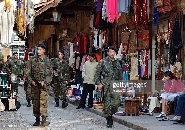 Lebanese Army soldiers patrol the tourist market of the exclusive marina of Byblos on February 26 50 Km north of Beirut LebanonTens of thousands of...