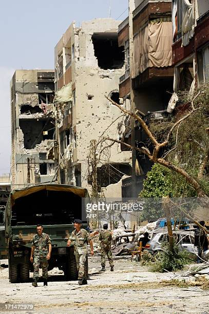 Lebanese Army soldiers secure the area surrounding the Bilal bin Rabah mosque in the Abra district of the southern city of Sidon on June 25 after...