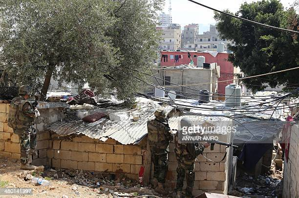 Lebanese army soldiers take positions near the capital's Tariq Jedideh district following clashes between pro and antiDamascus factions on March 23...