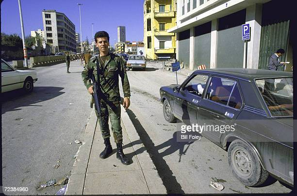 Lebanese army troops exercising control over city during lull in internecine warfare