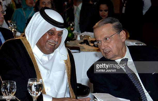 Lebanese Christian opposition leader and head of the Free Patriotic Movement Michel Aoun speaks with Qatari Deputy Premier and Energy Minister...