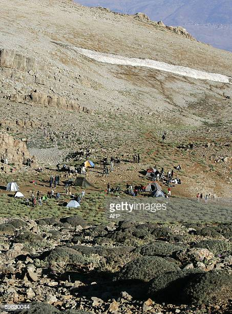 Lebanese Christian pilgrims camp on August 6 2009 on Mount Hermon814 m above sea level to watch the sunrise and celebrate Jesus' transfiguration 2000...
