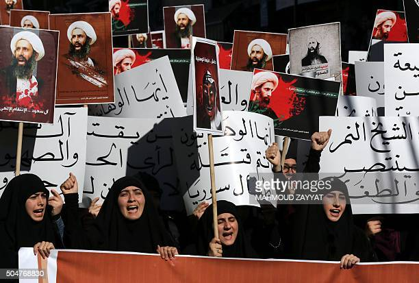 Lebanese college students take part in a demonstration on January 13 2016 in the southern Lebanese city of Nabatiyeh against the execution of...