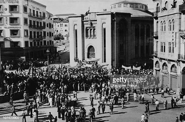 Lebanese Crowd Parading In Front Of Parliament Carrying Anti Zionist Banners In Beirut In Lebanon On November 14Th 1945