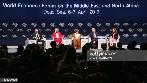 Lebanese Defence Minister Elias Bou Saab Dutch Foreign Minister Sigrid Kaag Omani Foreign Minister Yusuf bin Alawi bin Abdullah and Jordanian Foreign...