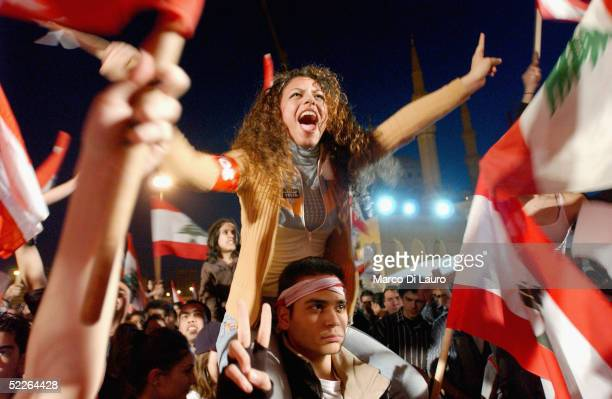 Lebanese demonstrator shouts in Martyr Square during an antiSyrian demonstration on March 2 2005 in Beirut Lebanon A few hundred Lebanese students...