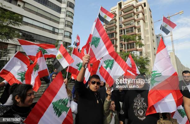 Lebanese demonstrators wave the Egyptian and Lebanese flags outside the Egyptian embassy in Beirut on November 26 during a gathering in solidarity...
