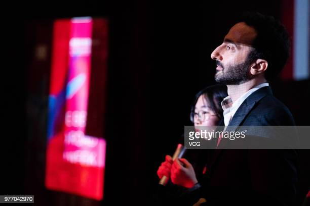 Lebanese director Lucien Bourjeily attends a meeting after a screening of his film 'Heaven Without People' during the 21st Shanghai International...