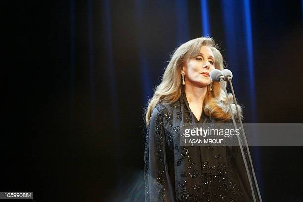 Lebanese diva Fairuz performs at Amman University's Arena theatre late 25 September 2004 The soldout oldies concert with a 40member orchestra from...