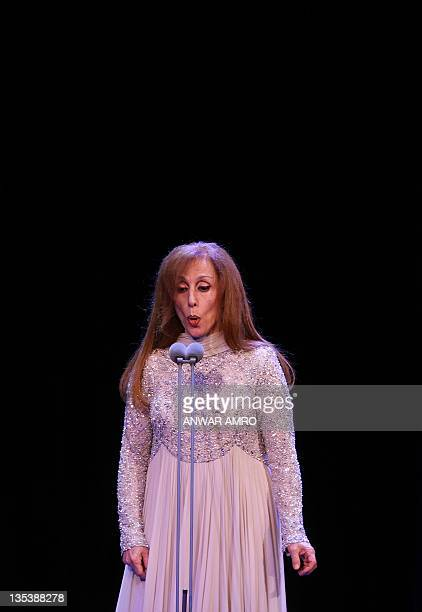 Lebanese diva Fairuz performs at Lebanon's new stateofart Platea theatre in Sahel Alma north of the capital Beirut on December 9 2011 The 77yearold...