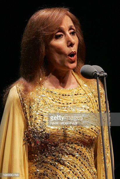 Lebanese diva Fairuz performs at the American University concert hall in Dubai 30 March 2006 Marking her first concert of the year the legendary...