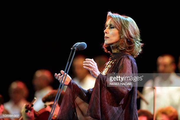 Lebanese diva Fairuz performs at the annual festival of Beiteddine in the Chouf region 31 July 2001 Fairuz gave three concerts at the festival...