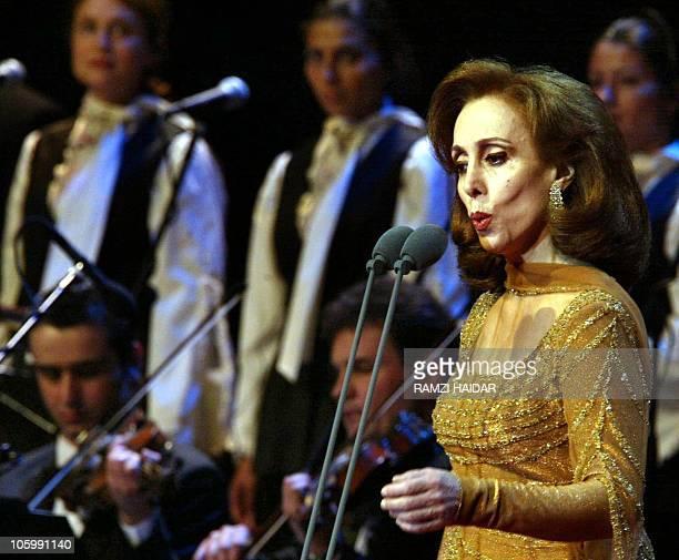 Lebanese diva Fairuz performs at the Beiteddine festival late 09 August 2002 AFP PHOTO/Ramzi HAIDAR