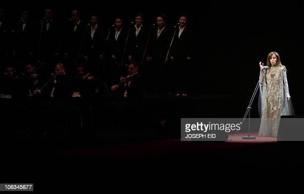 Lebanese diva Fairuz performs during a rare concert in Beirut on October 7 2010 AFP PHOTO/JOSEPH EID