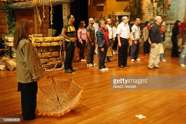 Lebanese diva Fairuz rehearses before the opening night of the Rahbani Brothers musical 'Sah ElNom' in the United Arab Emirate Sharjah's University...