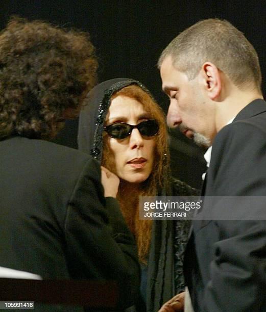Lebanese diva Fairuz talks to her son composer Ziad Rahbani and Armenian conductor Karen Durgarian during rehearsals prior to their Dubai concert 23...