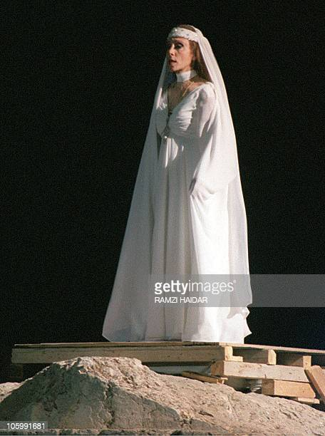 Lebanese diva Fairuz the best known Arab singer alive performs a concert in Baalbek on August 14 1998 as part of the festival held at world's biggest...
