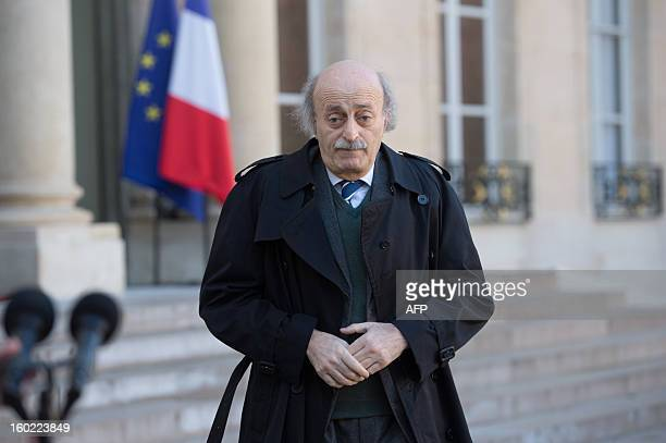 Lebanese Druze leader and Progressive Socialist Party chairman Walid Jumblatt leaves the Elysee presidential palace after a meeting with France's...