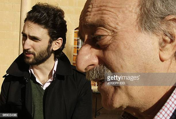 Lebanese Druze leader Walid Jumblatt walks with his eldest son Taymur at their ancestral home in Mukhtara in Lebanon's Shouf mountains southeast of...