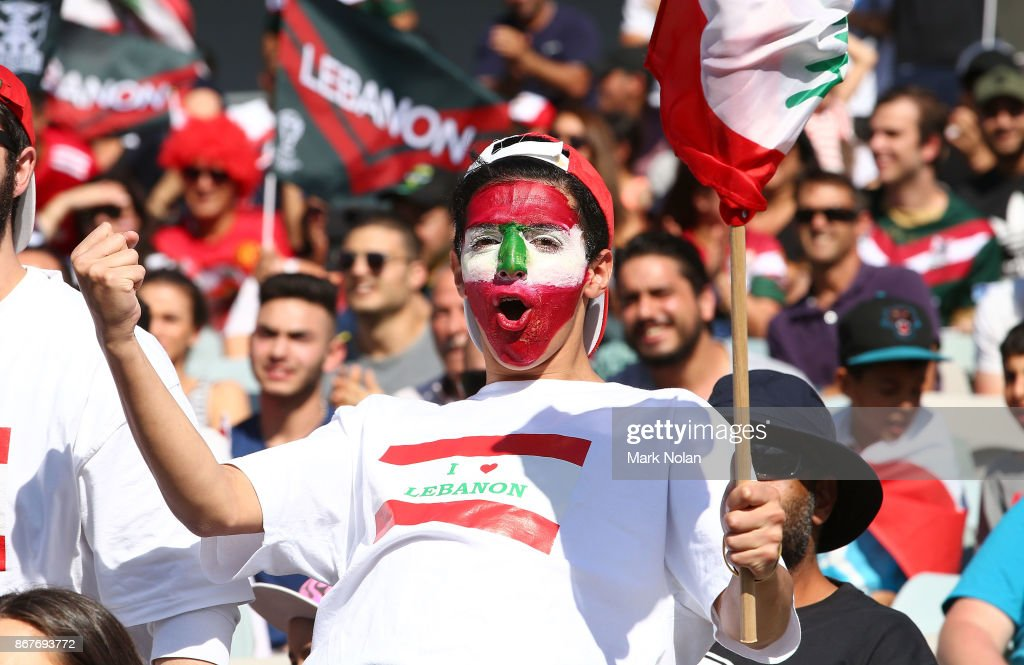 A Lebanese fan celebrates a try during the 2017 Rugby League World Cup match between France and Lebanon at Canberra Stadium on October 29, 2017 in Canberra, Australia.