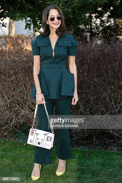 Lebanese fashion blogger Lana El Sahely poses during the photocall before the Christian Dior show during the 2016 spring/summer Haute Couture...